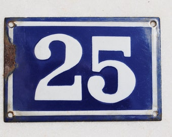 Vintage French enamel cobalt blue and white house number plaque - number 25