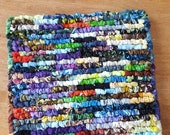 Hand Hooked Pot Holder, Kitchen Scraps, 7.5 x 7 Inch, Multi Colored Batik Fabric Pot Holder, Rag Rug Mat, Table Protecter, Table Rug