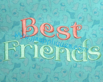 Best Friends Embroidery Design BFF Embroidery Design 4x4, 5x7, 6x10 hoop sizes - Instant Download