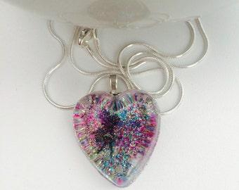 Rainbow dandelion fairy pendant