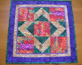 Quilted Small Table Topper. Contemporary Kaffe Fassett Florals in Orange Pink Green Purple Gold #2