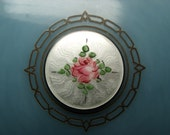 Vintage Art Deco Vanity Mirror Celluloid Guilloche Enamel HP Rose French Blue Marbled