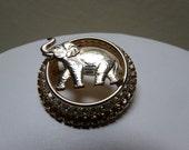 Vintage Warner Rhinestone Elephant Brooch 1950's Signed Costume Jewelry