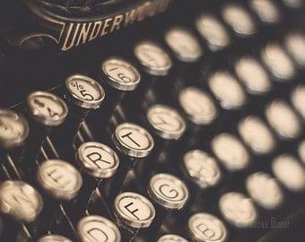 Typewriter Photograph   Vintage Typewriter Keys Wall Art   Writer   Artist   Underwood   Nostalgia