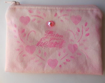 Handcrafted Zip Pouch Coin/Jewelry  Pink Hearts Stenciled Hand Painted