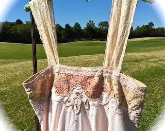 Sweet Tea Boho Cami Top/Dress Battenberg Lace Sweet Heart Forest Girl Dolly Kei Victoriana  Style Size XS