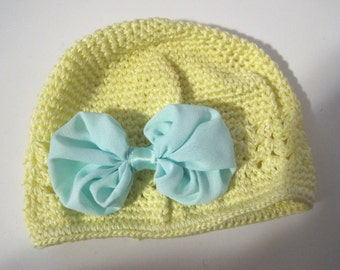 Baby Hat Yellow Crochet Kufi Beanie with Adorable Blue Chiffon Bow Fits 0 to 12 months Baby Accessories Kufi Hats Beanies