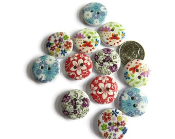 12 x Assorted Floral Buttons - 18mm Wooden Buttons - Assorted 18mm Buttons