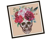 HALF OFF PATTERNS Sale Day of the Dead Cross Stitch Pdf - Skull Cross Stitch Pattern -  Fantasy Cross Stitch Pattern