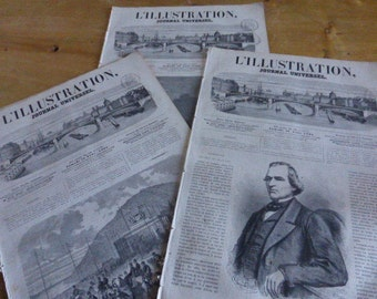 3 Antique Magazines, Journals, Newspapers,  L'Illustration, French, Dated 1865 Original.
