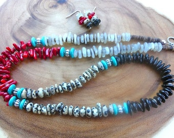 32 Inch Red, Black and White Freeform Rondelle Gemstones, Turquoise and Shell Heishi Necklace with Earrinngs