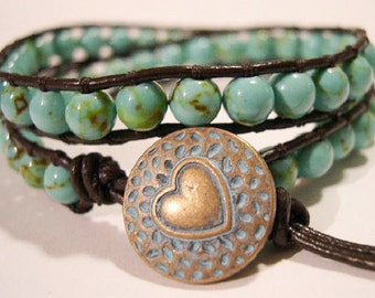 Beaded Turquoise Double Wrap Bracelet- 868