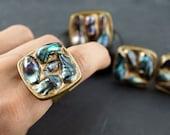 DARK BLUE PEARL - Titanium Gold & Aged Bronze - fits 5 to 11 - Pick from 4 originals