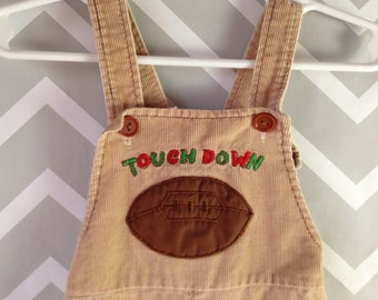 vintage tan corduroy shortalls with football applique size 12 18 months / 1 year