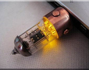 SALE - 25%!!! 8/16/32/64/128GB ORANGE Pentode radio vacuum tube Usb flash drive. Steampunk/Fallout style  !!! Stand and Shipping for FREE!!!