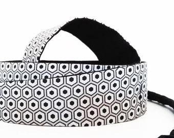 Mini Obi belt Akinori - black, grey and white belt with braided straps- 100% cotton-sash belt