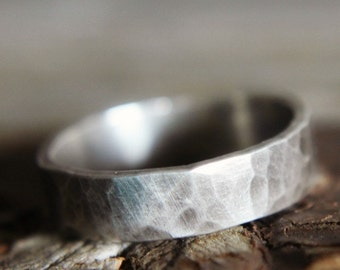 Hammered Wider Sterling Silver Stacking Ring Band - Simple Wedding Band, Mens Ladies