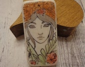 Handmade Domino Pendant,  Woman w/ Flowers, Fall Colors