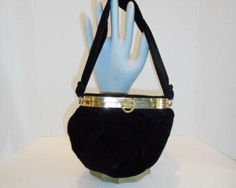 Vintage Black Velvet Coblentz Original 1940s Evening Handbag with Brass Frame