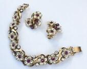 Florenza Bracelet with Earrings, Amethyst Rhinestones, Mother of Pearl, 1950s Vintage Jewelry Set