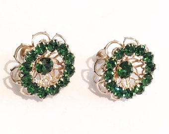 Green Rhinestone Earrings, Flowers, Art Deco Transition 1940s Vintage Jewelry, SUMMER SALE
