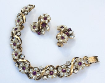 Florenza Bracelet with Earrings, Amethyst Rhinestones, Mother of Pearl, 1950s Vintage Jewelry Set
