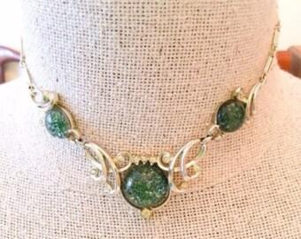 Lucite Necklace, Green, Confetti, Rhinestone, 1950s Vintage Jewelry WINTER Sale