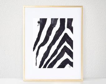 Zebra Print - Fashion Watercolor, Safari Stripes