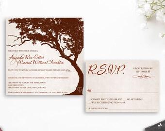 Oak Tree Wedding Invitation, Rustic Wedding Invitation, Printable DIY  Digital Invitation, Tree Wedding