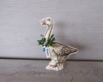Goose Christmas decoration  paper ornament antique style stuffed Primitive Paper black and white Shabby French Country Chic rustic