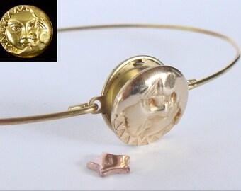 Personalized locket bracelet - Gold sun and moon locket bangle - Boho gypsy - Locket bracelet - Floating charm bracelet - Initial bracelet