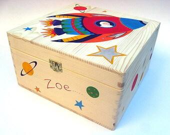 Medium children's keepsake Box, Personalised memory box, Hand-painted wooden trinket box, Rocket and space design