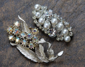 Vintage Rhinestone Brooches Set of Two Aurora Borealis Faux Pearls Clear Rhinestones Hollywood Glamour 1950's // Vintage Costume Jewelry