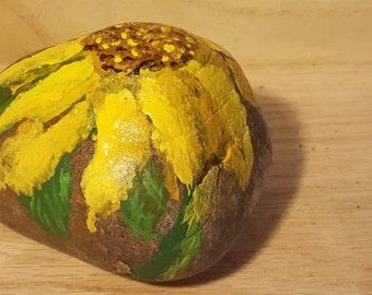 Painted rock, Sunflower rock, paper weight, heavy rock, happy rock, #52