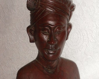 Carved Wood Bust Klungkung Warrior Man Asian Bali Vintage Tribal Sculpture Statue