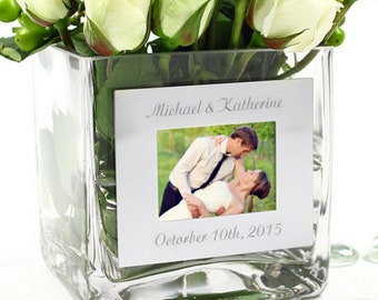 Square Glass Vase with Photo Frame