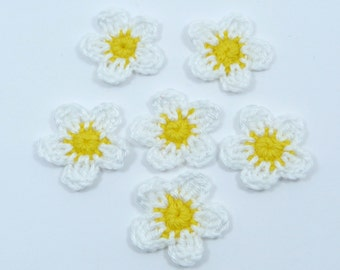 Crochet appliques, crochet flowers 6 small applique flowers, cardmaking, scrapbooking, appliques, craft embellishments, sewing accessories.