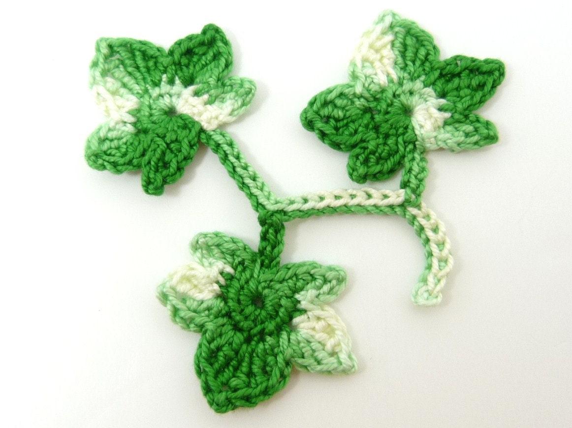 crochet appliques 3 bright green applique ivy leaves. Black Bedroom Furniture Sets. Home Design Ideas