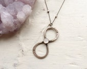 Perfectly Encircled- sterling silver infinity symbol and rainbow moonstone necklace