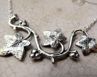 Art Nouveau Necklace Silver Leaf Necklace Sterling Silver Necklace Pendant Art Deco Necklace Bar Necklace Fantasy Jewelry- Entangled