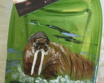 Hand Painted Walrus Green Glass Wine Bottle Cheese Tray/Platter