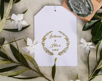 Wedding Favour Stamp With Folk Border