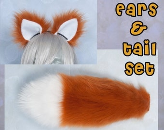 "SMALL Rust Furry Ear and/or 16"" Tail with white tip Set Luxury, Cosplay, Accessories, Costume - for Kids or Adults"