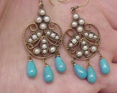 From 1800s ,Stunning pair of 375(9k) Gold Victorian Genuine Turquoise and Seeds Pearl Filigree Earrings