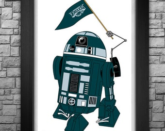 """R2-D2 """"Philadelphia Eagles"""" inspired limited edition art print. Available in 3 sizes!"""