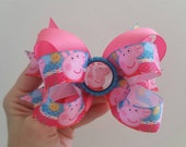 Peppa Pig Big Bow.  Purple and Lime.  Back to School. Birthday parties. Pageants.