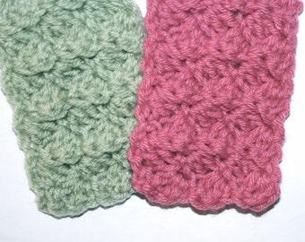 Miniatures Mini Doll Blanket 1:12 Scale Afghan 2 pc Set Textured Reversible Sage Green / Fuchsia Rose Handmade by CzechBeaderyShop