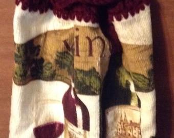 Crochet Kitchen hand towel Grapes wine