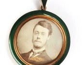Victorian Green Enamel Gold Filled Double Sided GLass Locket