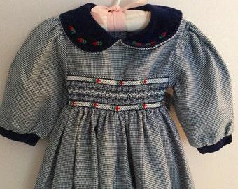 Vintage Baby Girl Navy Smocked Front Romper 6-9 Monthe